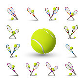 Tannis ball and racket isolated on the white background. Vector tennis items as design elements.