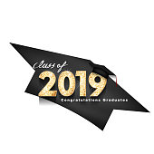 Vector text for graduation gold design, congratulation event, T-shirt, party, high school or college graduate. gold Lettering Class of 2019 for greeting, invitation card