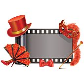 Vector Theater Film with red accessories, including hat, shoe, bow, mask, boa, fan, isolated on white background