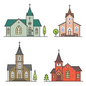 Vector thin line icon church. For web design and application interface, also useful for infographics. Vector illustration.