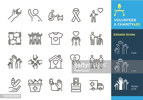 Vector thin line icons related with humanitarian causes - volunteering, adoption, donations, charity, non-profit organizations. The stroke is editable to different sizes and easily changed into flat. : Arte vetorial