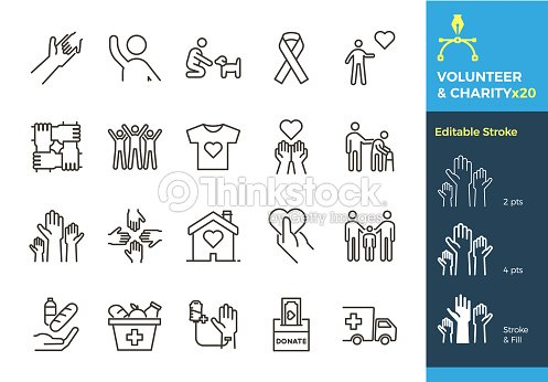 Vector thin line icons related with humanitarian causes - volunteering, adoption, donations, charity, non-profit organizations. The stroke is editable to different sizes and easily changed into flat. : stock vector