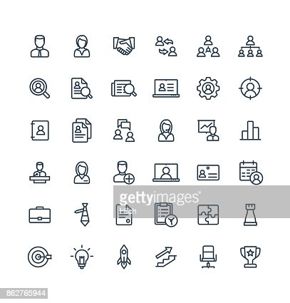 Vector thin line icons set business and management outline symbols. : Vector Art