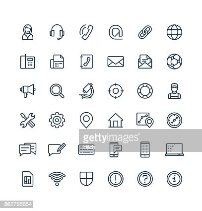 Vector thin line icons set with contact us, technical support service outline symbols. : stock vector