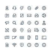 Vector thin line icons set and graphic design elements. Illustration with contact us, technical support service outline symbols. Communication, client call, envelope, customer care linear pictogram