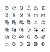Vector thin line icons set and graphic design elements. Illustration with date, time outline symbols. Alarm clock, smart watch, stopwatch, timer, organizer, planning and management linear pictogram