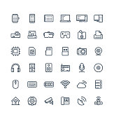 Vector thin line icons set and graphic design elements. Illustration with digital and wireless technology outline symbols. Smart phone, laptop, tablet, pc, virtual reality, 3d print linear pictogram
