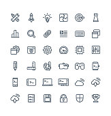 Vector thin line icons set and graphic design elements. Illustration with digital development outline symbols. Startup, idea bulb, research, game, content, software, app programming linear pictogram