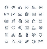 Vector thin line icons set and graphic design elements. Social media, network outline symbols illustration. Like, video content, message, comment, subscribe, profile, views, followers linear pictogram