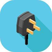A vector illustration of a Power Plug flat icon design. Plug Icon Concept.