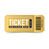 Vector golden ticket isolated on white background. Luxury, premium design. Icon picture for website. Cinema, theatre,  concert, movie, performance, party, event, festival design ticket template