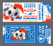 Soccer world cup 2018 tickets design template for football championship in red, blue and white Russia colors. Vector international tournament 15 August admit tickets with soccer team flags and ball