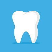 Vector tooth icon. Oral medicine, stomatology, dental medicine concepts. White tooth isolated on blue background. Modern flat design graphic element. Vector illustration
