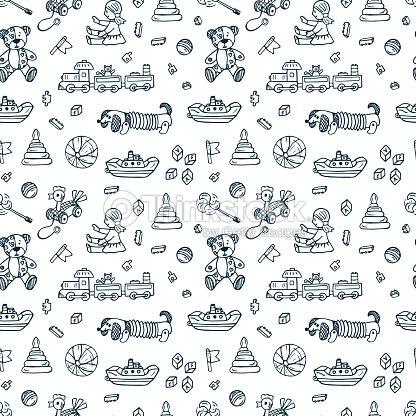Vector Toys Doodle Seamless Pattern Kids Background Endless Wallpaper Art