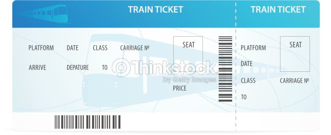 Vector Train Ticket Tamplate Layout With Silhouette On Background Railway
