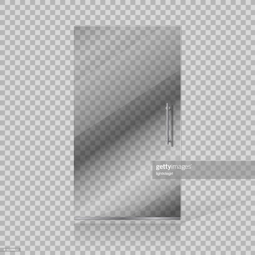 Vector transparent glass doors on checkered background : Vector Art