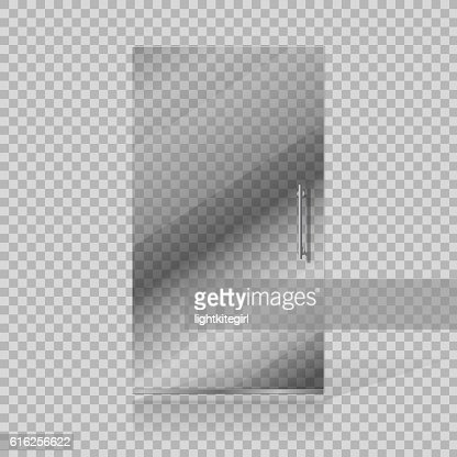 Vector transparent glass doors on checkered background : Vector Art