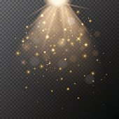 Vector transparent golden glow with bokeh magic light effect.