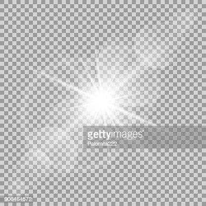 Vector transparent sun flash with rays and spotligh : stock vector