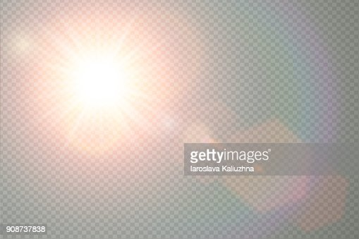 Vector transparent sunlight special lens flare light effect. Sun flash with warm rays and spotlight. Abstract translucent decor element design. Isolated star burst in sky. : stock vector