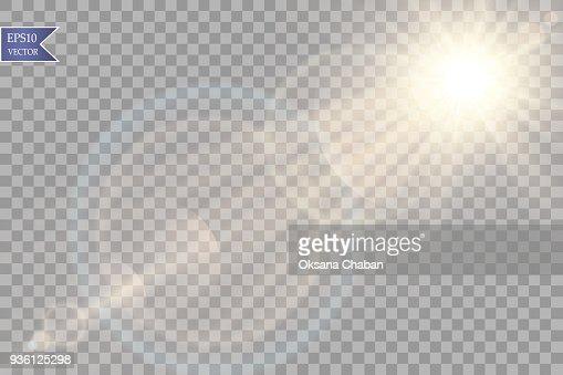 Vektor transparent Sonnenlicht Spezialoptik Flare Lichteffekt. Sonne mit Strahlen flash und Scheinwerfer : Vektorgrafik