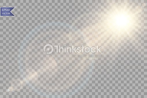 Vector transparent sunlight special lens flare light effect. Sun flash with rays and spotlight : stock vector