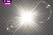 Vector transparent sunlight special lens flare light effect. EPS 10