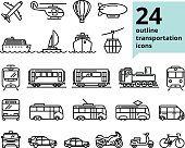 Vector transportation and travel related set of 24 light outline icons for UI, web design. Airplane, ship, train, bus and other public transport symbols; car, van, motorbike, bicycle signs
