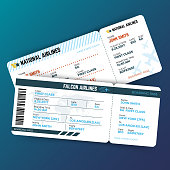 Vector travelling concept with airline boarding pass tickets. Ticket travel to airplane illustration
