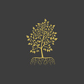 Vector tree with roots logo element. Tree with leaves modern logotype. Silhouette of a tree illustration