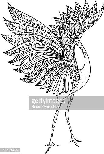 Vector Tribal Decorative Brolga : Vector Art