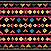 Vector Tribal ethnic seamless pattern. Ideal for printing onto fabric, paper, web design. National background. Embroidery for fashion women, print design. Aztec print