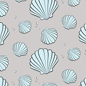 Vector tropical ocean print with shells. Seashells with jewels pattern. Tropical summer nature gem background. Fashion vacation texture