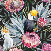 Beautiful vector pattern with nice watercolor tropical protea flowers