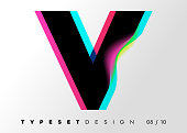 Vector Typeset Design. Neon Glitch Style. Black Bold Font with Double Exposure. Abstract Colorful Type for Creative Heading, Advertising Placard, Music Poster, Sale Banner. Trendy Neon Glowing Letters