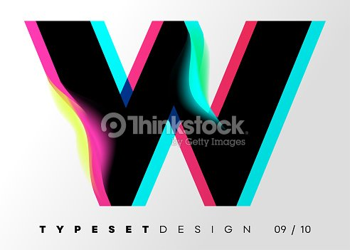 Vector Typeset Design Neon Glitch Style Black Bold Font With