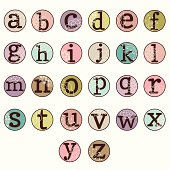 Vector Typewriter Key Alphabet. No transparencies or gradients used. Large JPG included. Each 'key' is grouped for easy editing.