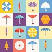 Vector umbrella icons collection, flat design