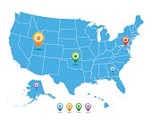 Vector United States (USA) map with pointers isolated