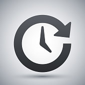 Vector update icon on a gray background with a shadow