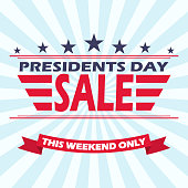 USA Presidents day sale background with stars, stripes and ribbon. Vector illustration.