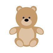 Vector Valentine's Day Teddy Bear. Toy plush bear cute for babies and children. Happy small bear cartoonish