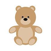 Vector Valentine's Day Teddy Bear. Toy plush bear cute for babies and children. Happy small bear cartoonish