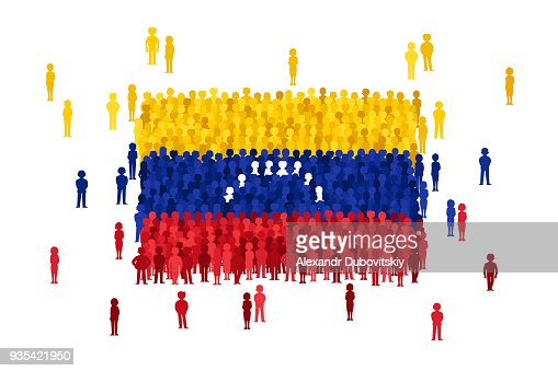 Vector Venezuela State Flag Formed By Crowd Of Cartoon People Vector