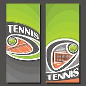 Vector vertical Banners for Tennis: 2 layouts for title text on tennis theme, orange clay court with flying above net ball, abstract banner for inscriptions on black background, sport invite ticket.