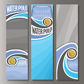 Vector Vertical Banners for Water Polo: 3 template for title text on water polo theme, swimming pool, flying in goal gate waterpolo ball, abstract vertical banner for advertising on grey background.