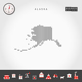Vector Vertical Lines Pattern Map of Alaska. Striped Simple Silhouette of Alaska. Realistic Compass. Business Infographic Icons.