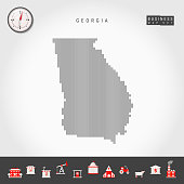 Vector Vertical Lines Pattern Map of Georgia. Striped Simple Silhouette of Georgia. Realistic Compass. Business Infographic Icons.