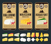 Vector cheese vintage labels and packaging design templates. Different types of cheese detailed icons. Dairy products illustration for dairies, farms and groceries branding. Cow, sheep and goat silhou