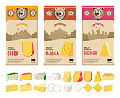 Vector cheese vintage labels with farming landscape and different types of cheese detailed icons. Dairy products illustration for dairies, farms and groceries branding.